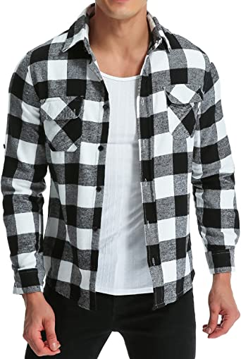 Fseason-Men No-Iron Plaid Fall Winter Premium Casual Classic Woven Shirt