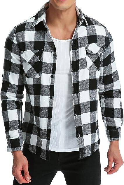 Mens Long Sleeve Plaid Flannel Winter Warm Shirt Casual Button Down Slim Fit Shirts