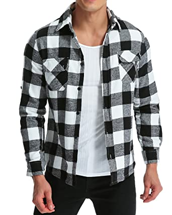 37c178f4d48 MODCHOK Men  Shirt Long Sleeve Outwear Plaid Flannel Slim Fit Button Down  Check Tops Black White