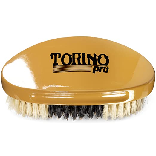 Torino Pro Hybrid Medium Soft Curve Brush By Brush King - #1760 - Soft top,Medium in the middle, soft in the bottom - Great for polishing your waves and Connections - Curved brush for 360 Waves