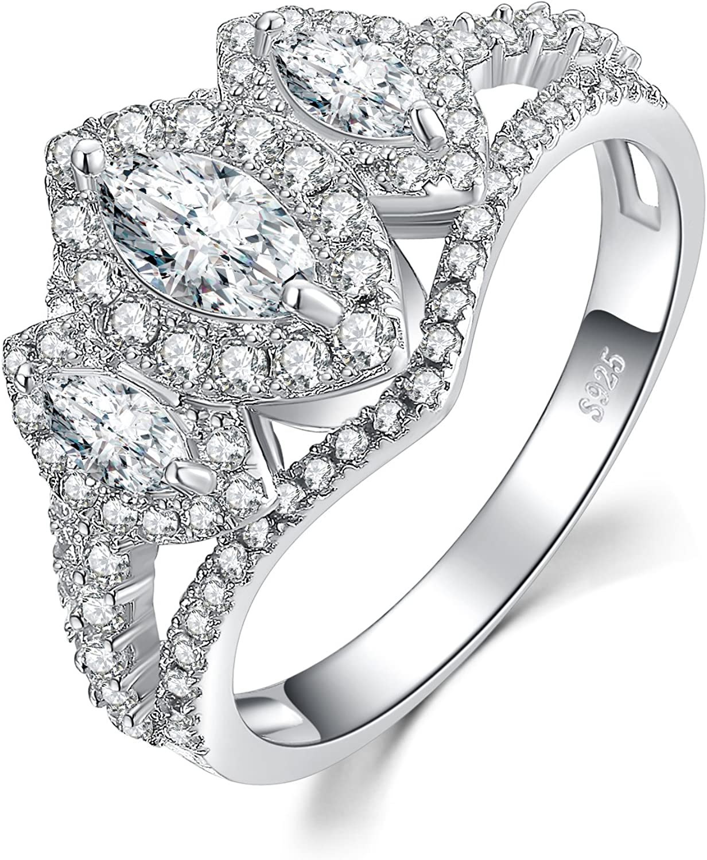 JewelryPalace Anillo de compromiso 3 Piedra de Split caña 2ct circonio cúbico marquesa de boda Plata de ley 925