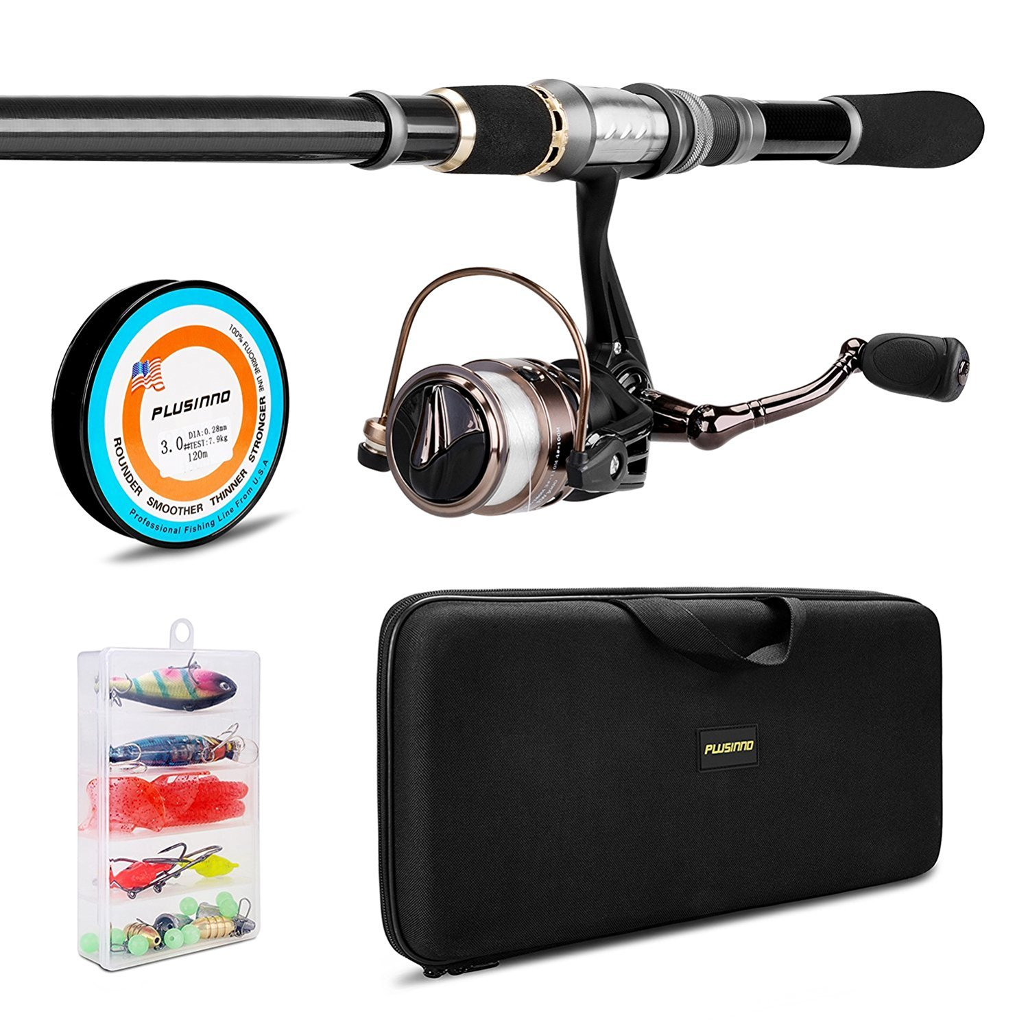 Plusinno telescopic fishing rod and reel combos full kit for Fishing rod combos