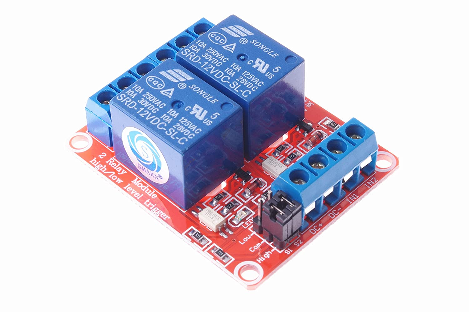 Smakn Dc 12v 2ch 2 Channel Isolated Optocoupler High Dpdt 12vdc 30a General Purpose Power Relay Circuit Diagram Low Level Trigger Module Home Audio Theater