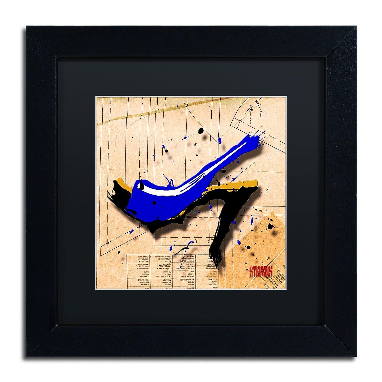 Trademark Fine Art Suede Heels Blue Artwork by Roderick Stevens, 16 by 16-Inch, Matte Black