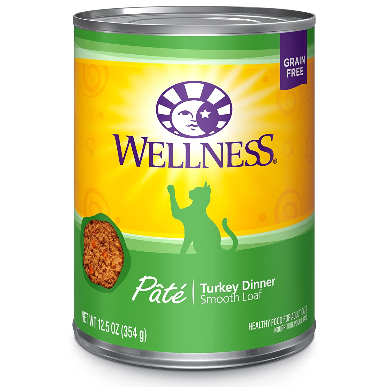 12.5-Ounce Can (Pack of 12) Wellness Complete Health Natural Canned Grain Free Wet Cat Food, Turkey Pate, 12.5-Ounce Can (Pack of 12)