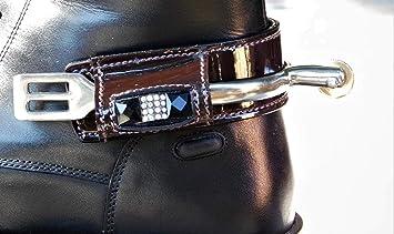 Stiefelschutz Breeches Tysons Leder Lack Braun Sporenschutz USMVpz