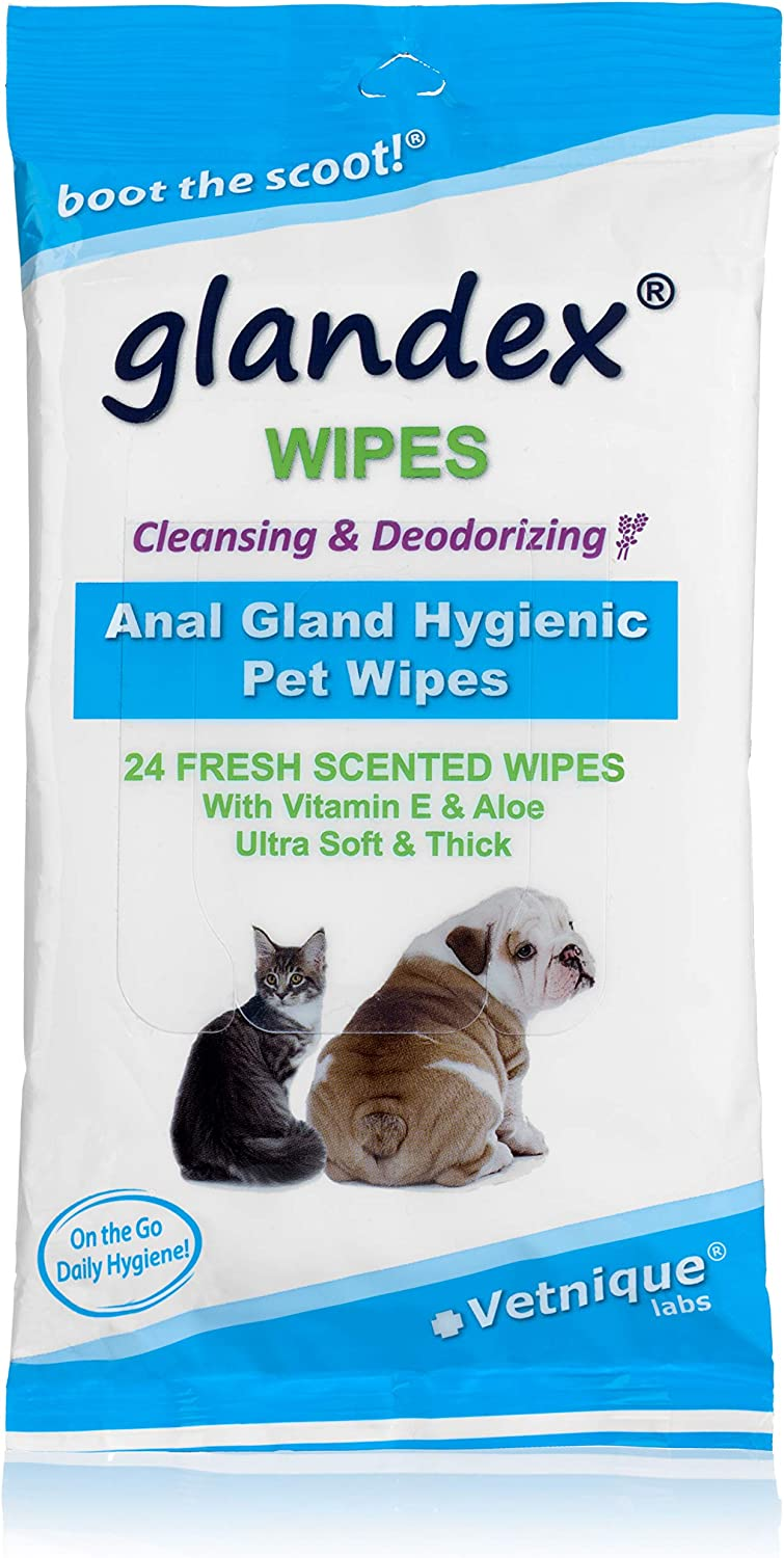 by Vetnique Labs Skin Conditioners and Aloe Glandex Dog Wipes for Pets Cleansing /& Deodorizing Anal Gland Hygienic Wipes for Dogs /& Cats with Vitamin E