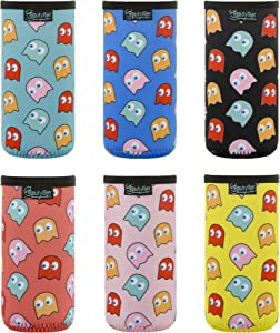 Beautyflier Slim Can Cover Neoprene Bottle Insulator Sleeve Collapsible Drink Slim Can Cover for 12 Ounce Energy Drink Beverage Beer Can (Ghost Pattern (6pcs))