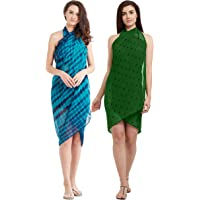 SOURBH Beach Wear Wrap Sarongs for Women Combo Value Pack Pareo Swimsuits Body Cover Up Dress - Set of 2 (S1_S223-Blue & Green-Free Size)