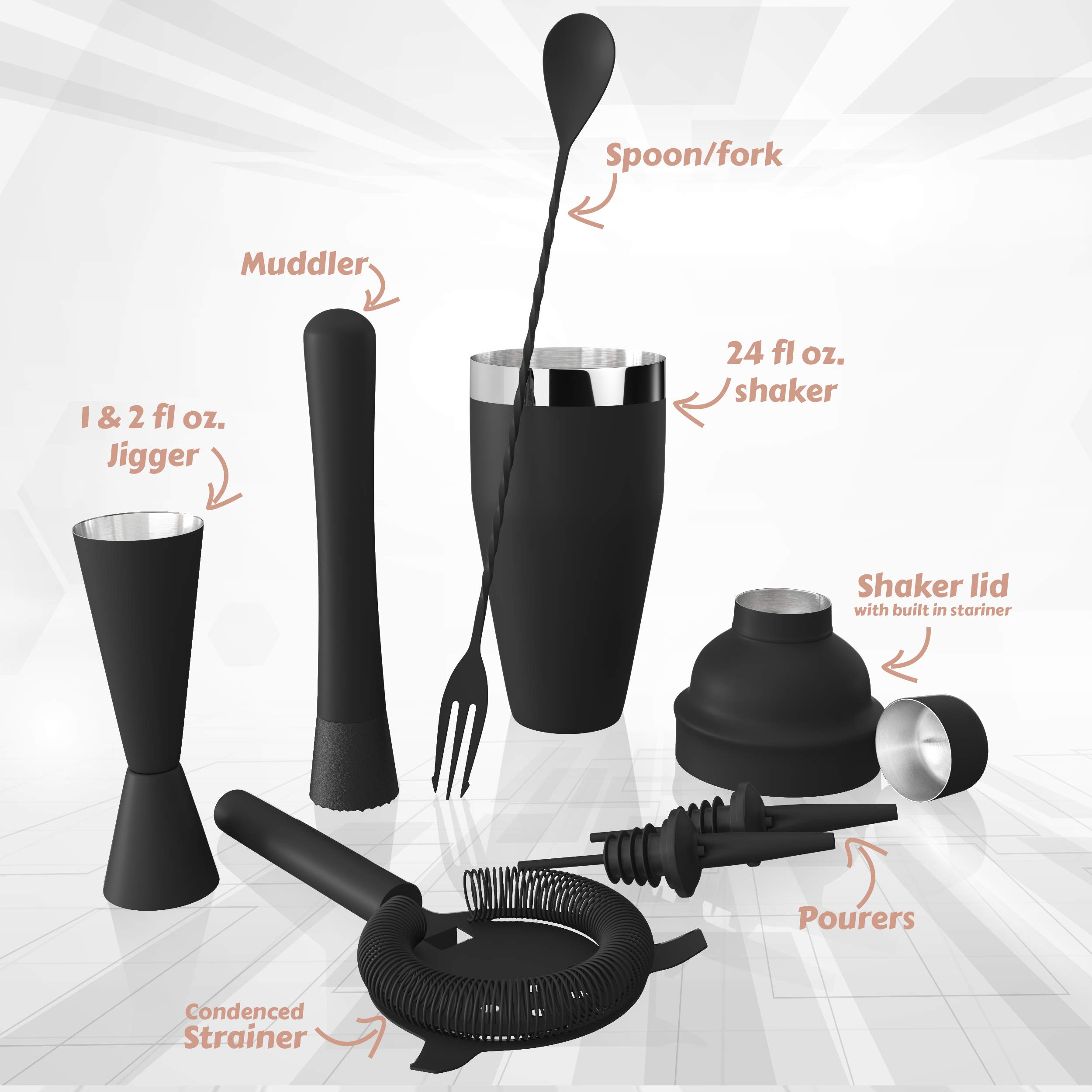 All-inclusive Bar Set | Professional Home Bartender Cocktail Shaker Set | Includes a Recipe Book & All Necessary Bar Tools and Accessories | Impressive Gift for Men! (Matte Black) by Royexe (Image #2)