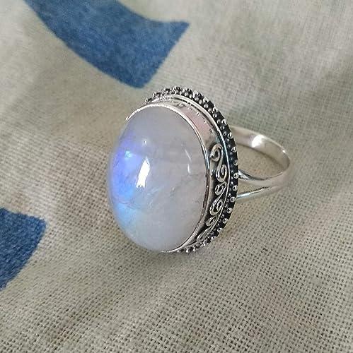 0913abb21f66 Anillo de piedra lunar del arco iris Joyería de plata esterlina 925 ...