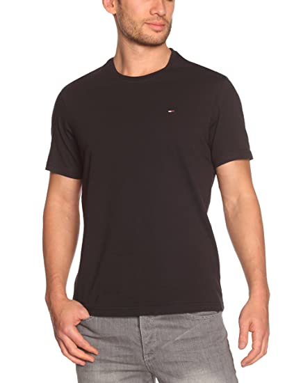 636ca573 Hilfiger Denim Men's Crew Neck 1/2 Sleeve T-Shirt - Black - Schwarz (078 TOMMY  BLACK) - 48 (Brand size: M): Amazon.co.uk: Clothing