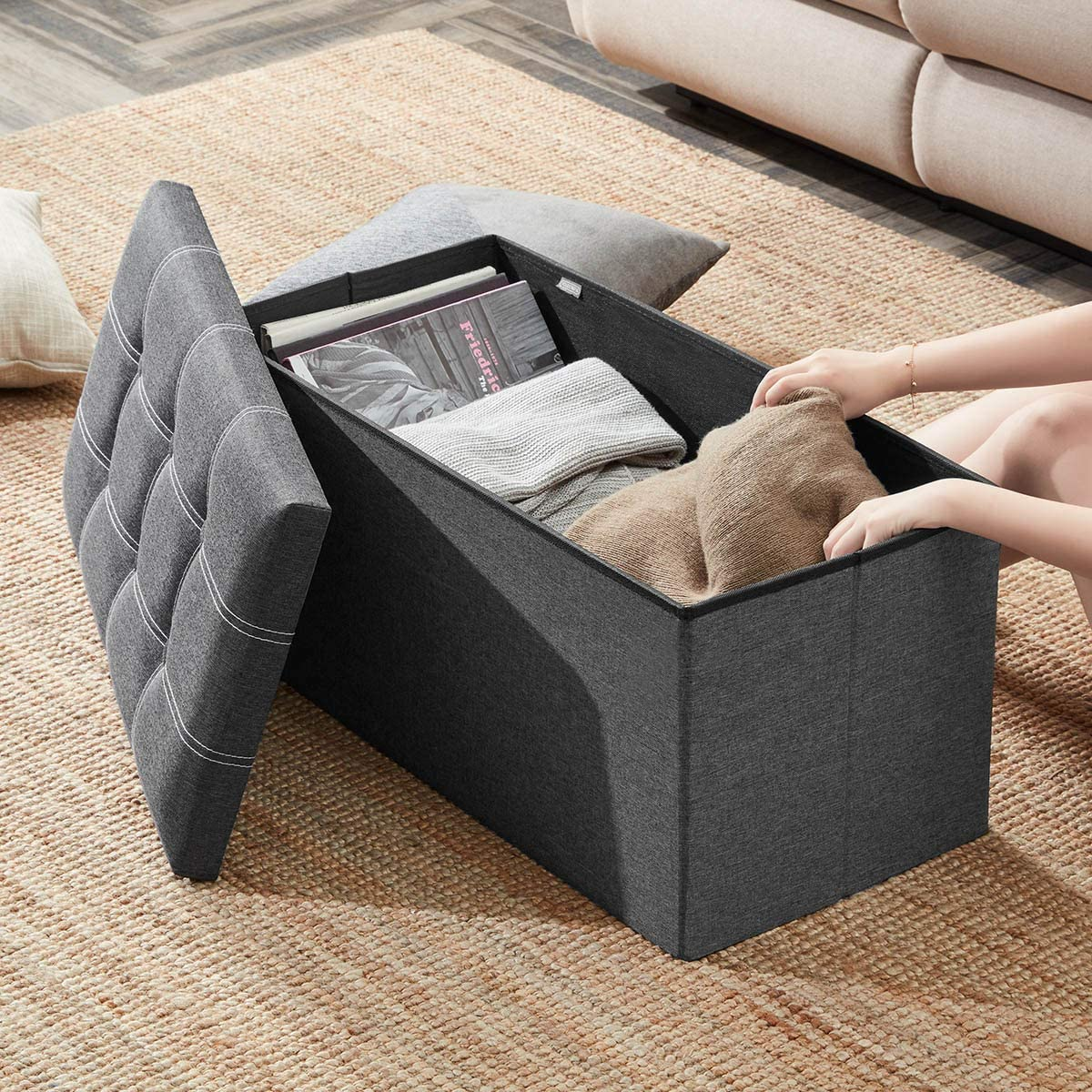 YOUDENOVA 30 inches Storage Ottoman Bench, Foldable Footrest Shoe Bench with 80L Storage Space, End of Bed Storage Seat, Support 350lbs, Linen Fabric Grey: Kitchen & Dining