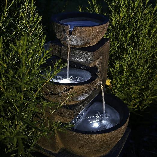 CLGarden Fuente de nsp12 con batería y LED Iluminación para Jardín Terraza Balcón: Amazon.es: Jardín