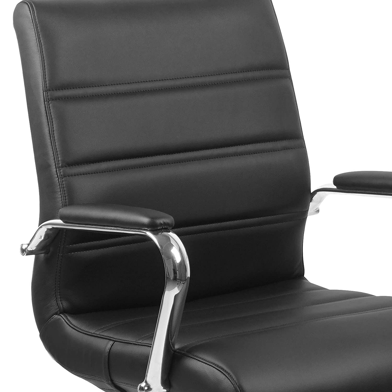 Flash Furniture Mid-Back Black Leather Executive Swivel Office Chair with Chrome Base and Arms, GO-2286M-BK-GG 71TV4ID6NZL