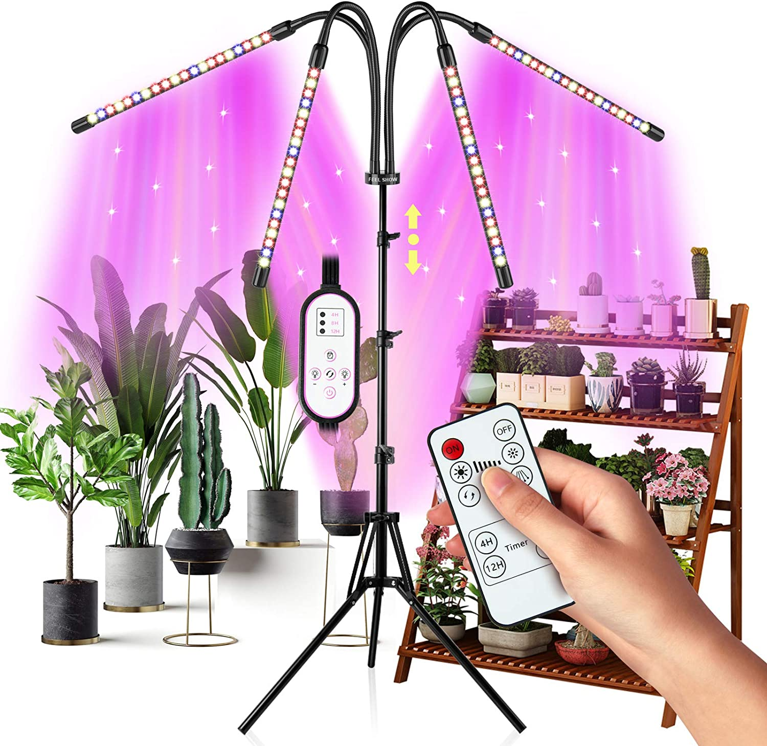 Grow Light for Indoor Plants Full Spectrum, Upgrade 4-Head Plant Lights, Growing Light with 4/8/12H Timer, Tripod Adjustable 15-60inch