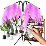 Grow Light for Indoor Plants Full Spectrum, Upgrade 4-Head Plant Lights, Growing Light with 4/8/12H Timer, Tripod Adjustable