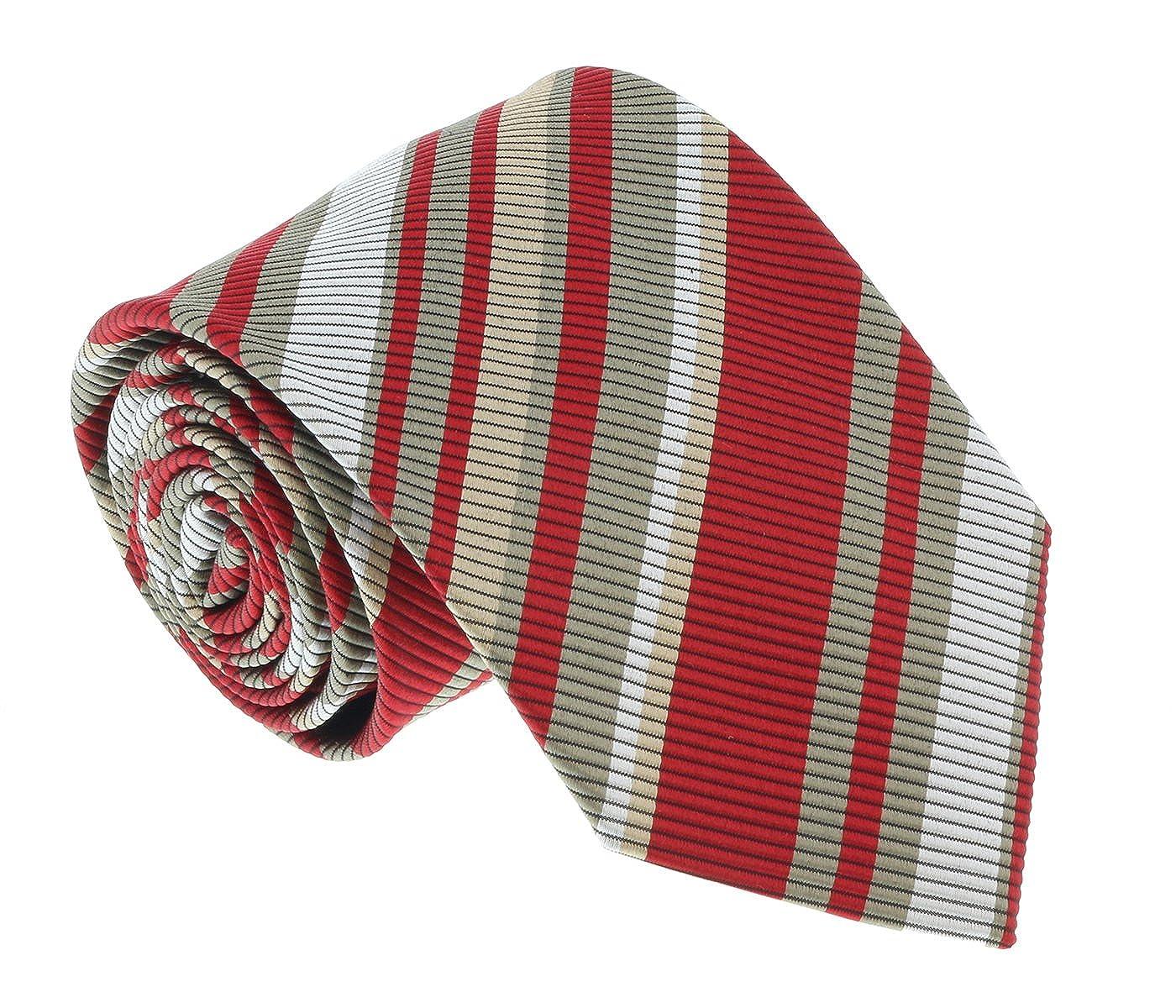 Missoni U4233 Red//Khaki Regimental 100/% Silk Tie for mens