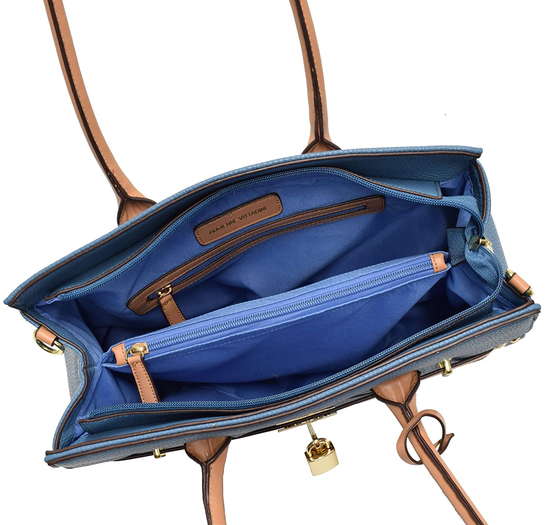 97aa5a2351 Adrienne Vittadini Triple Compartment Kelly Collection Pebble Grain Birkin  Bag (Black)  Handbags  Amazon.com