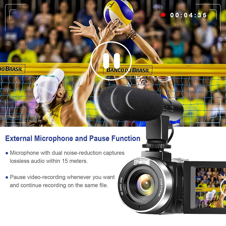 Videocamara 4K C/ámara de Video 30MP WiFi Videoc/ámara Vlogging con Pantalla T/áctil de 3.0C/ámara Nocturna de Visi/ón por Infrarrojos Micr/ófono Externo Time-Lapse