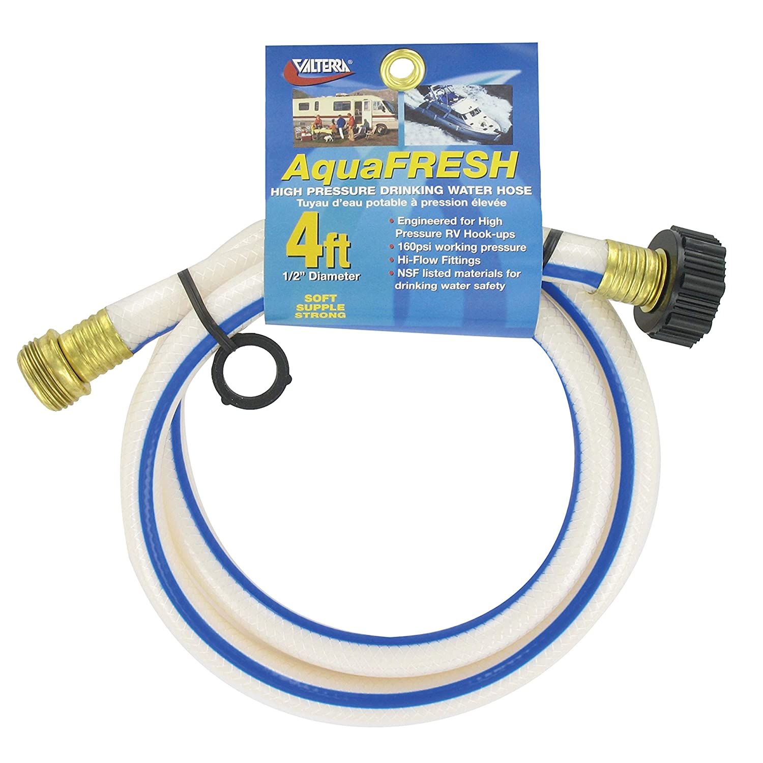 "Valterra AquaFresh High Pressure Drinking Water Hose, Water Hose Hookup for RV - 1/2"" x 4', White"