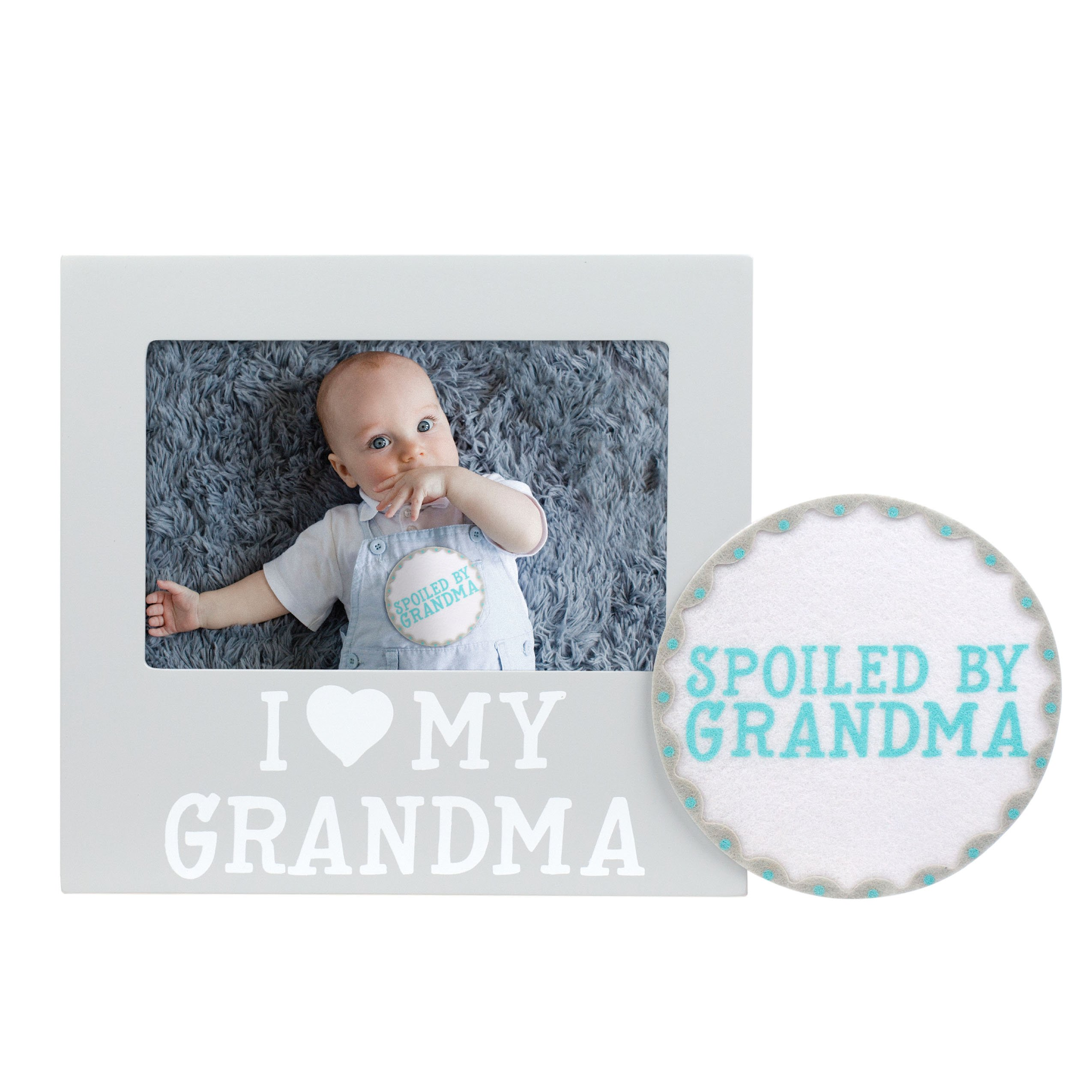 Pearhead I Love Grandma Keepsake Photo Frame and Baby Belly Sticker Gift Set, Gray