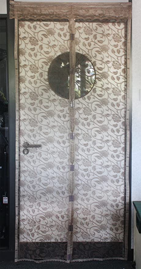 pair of magnetic flying insect door screen curtain very easy to fit patterned 210x90cm grey or taupe taupe