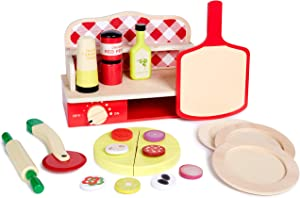 Pizza Oven Toy Play Set - Pretend Play Wood Cooking Set for Kids with Play Food, Kitchen Accessories and Toy Dishes - Playset Toys for Toddler Girls and Boys 2 3 4 5 Year Old