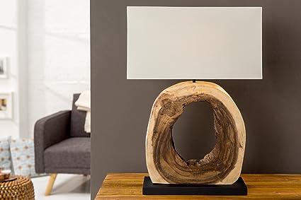 Tischlampe Treibholzlampe Teakholz massiv Lampe Unikat BURMA Leinen Naturholz