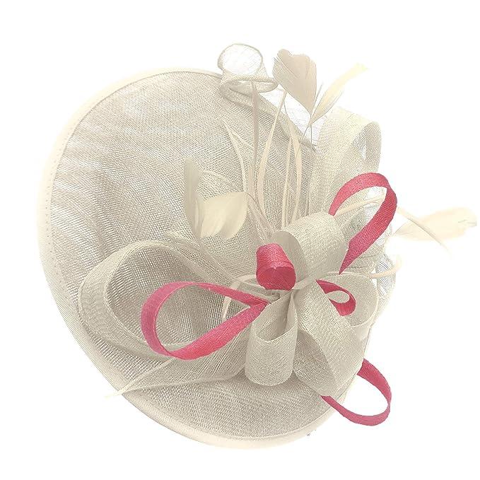 f662088344c10 Caprilite Cream Ivory and Baby Pink Sinamay Big Disc Saucer Fascinator Hat  for Women Weddings Headband