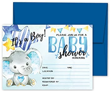 Amazon Com Deluxe Blue Elephant Baby Shower Invitations Jungle