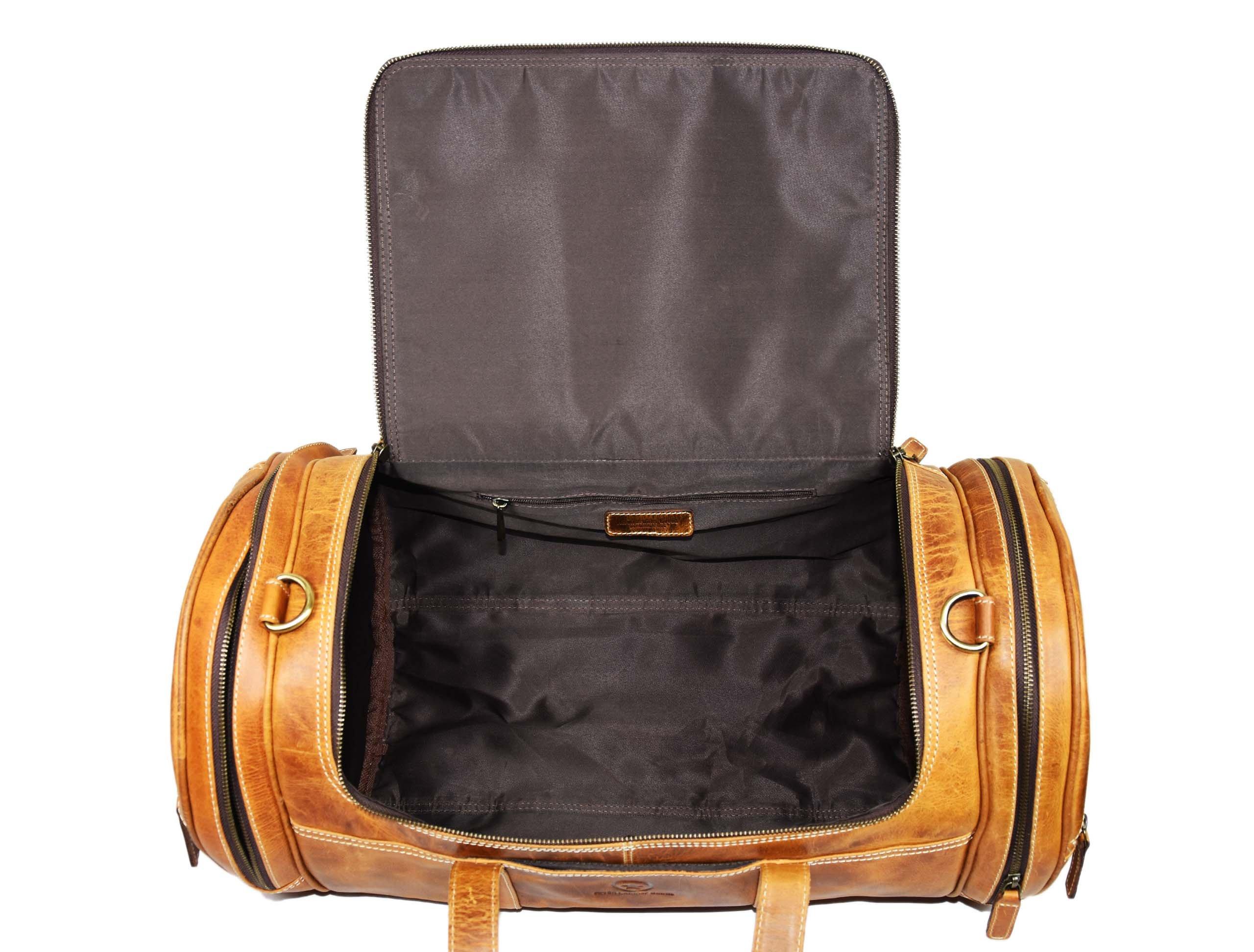 Travel Duffel Overnight Barrel Weekend Leather Bag by Aaron Leather (Brown) by Aaron Leather (Image #4)