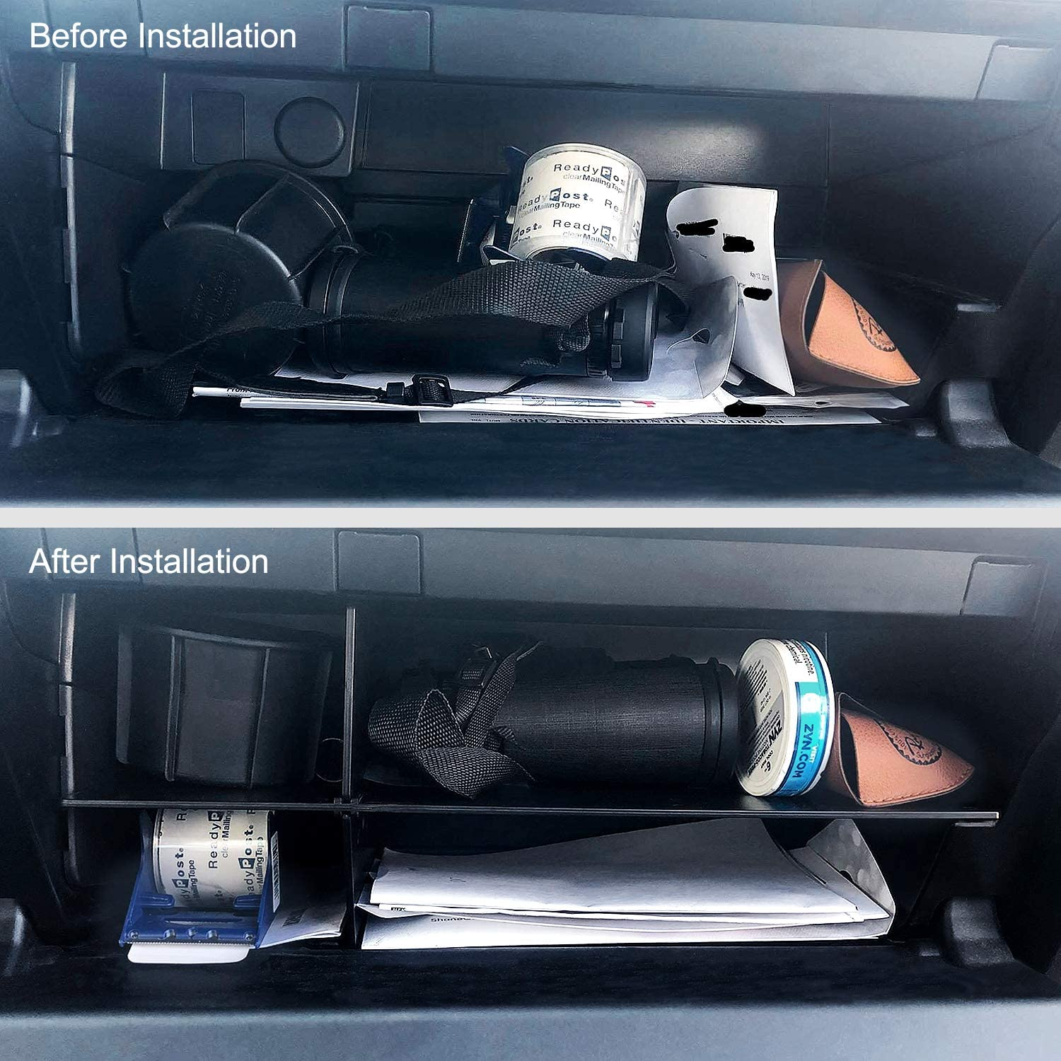 JDMCAR Glove Box Organizer Compatible with Toyota 4Runner Accessories 2010-2020,Insert ABS Black Materials Compartment Tray New Design