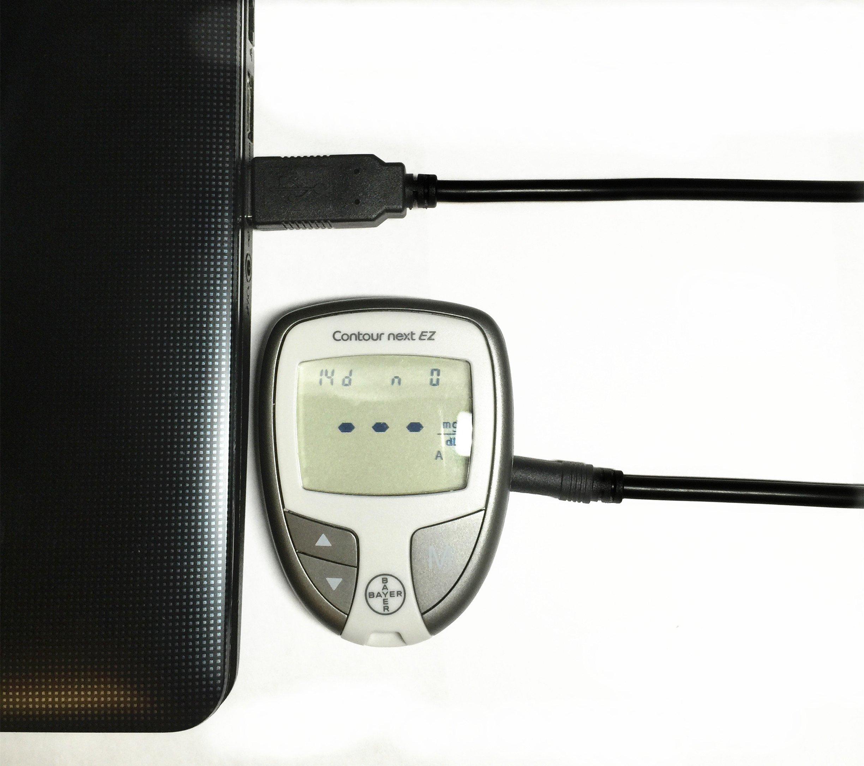 EZSync USB Data Cable compatible for Bayer Diabetes glucose metes: Breeze2, Contour, Contour next EZ and Didget