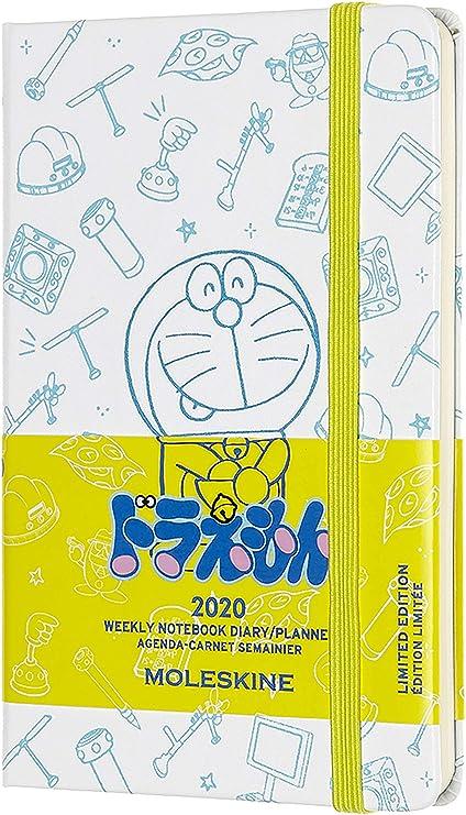 Moleskine - Agenda Semanal 12 Meses 2020 Doraemon Edición Especial Blanca con Tapa Dura y Cierre Elástico, Tamaño de Bolsillo 9 x 14 cm, 144 Páginas