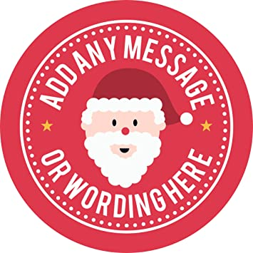 Christmas happy santa sticker labels 6 stickers 9 5cm each personalised seals ideal