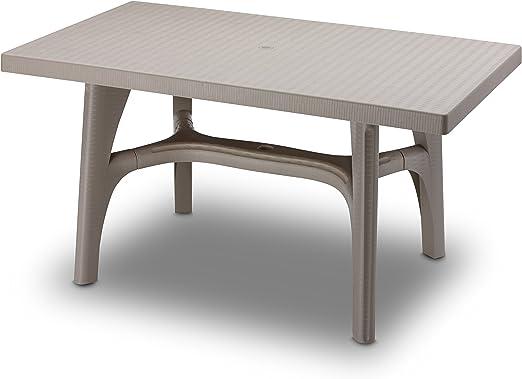Mesa rectangular para exterior, Mesa Resina 140 x 80, mesa para jardín Pardo: Amazon.es: Hogar