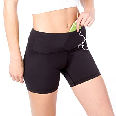 """Sport-it Womens Workout Running Cycling Yoga Gym Shorts with Pockets for Phone, 3"""" Black Athletic High Waisted Short"""