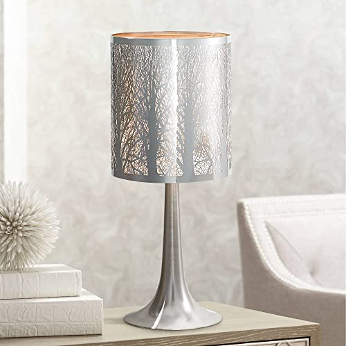 Modern Contemporary Style Small Accent Table Lamp 19″ High Chrome Solid Metal Laser Cut Tree Branch Pattern Drum Shade Decor
