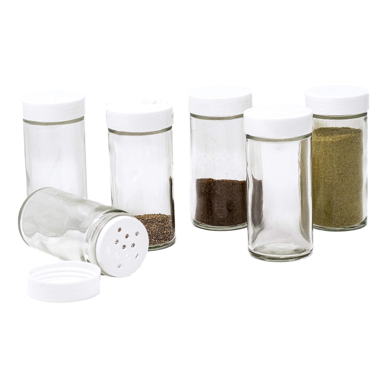 Glass Spice Jars- Set of Six Glass Spice Bottles CS Household 7820