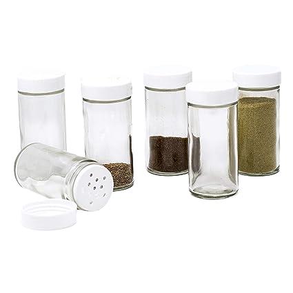 Amazon Com Glass Spice Jars Set Of Six Glass Spice Bottles Spice