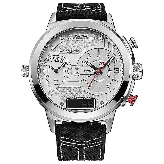 Weide Big & - Reloj Digital con cronógrafo, analógico y LCD 6405-2C,