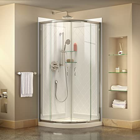 x 76 3//4 in Semi-Frameless Frosted Glass Sliding Shower Enclosure in Chrome with White Base and Backwalls DreamLine Prime 33 in