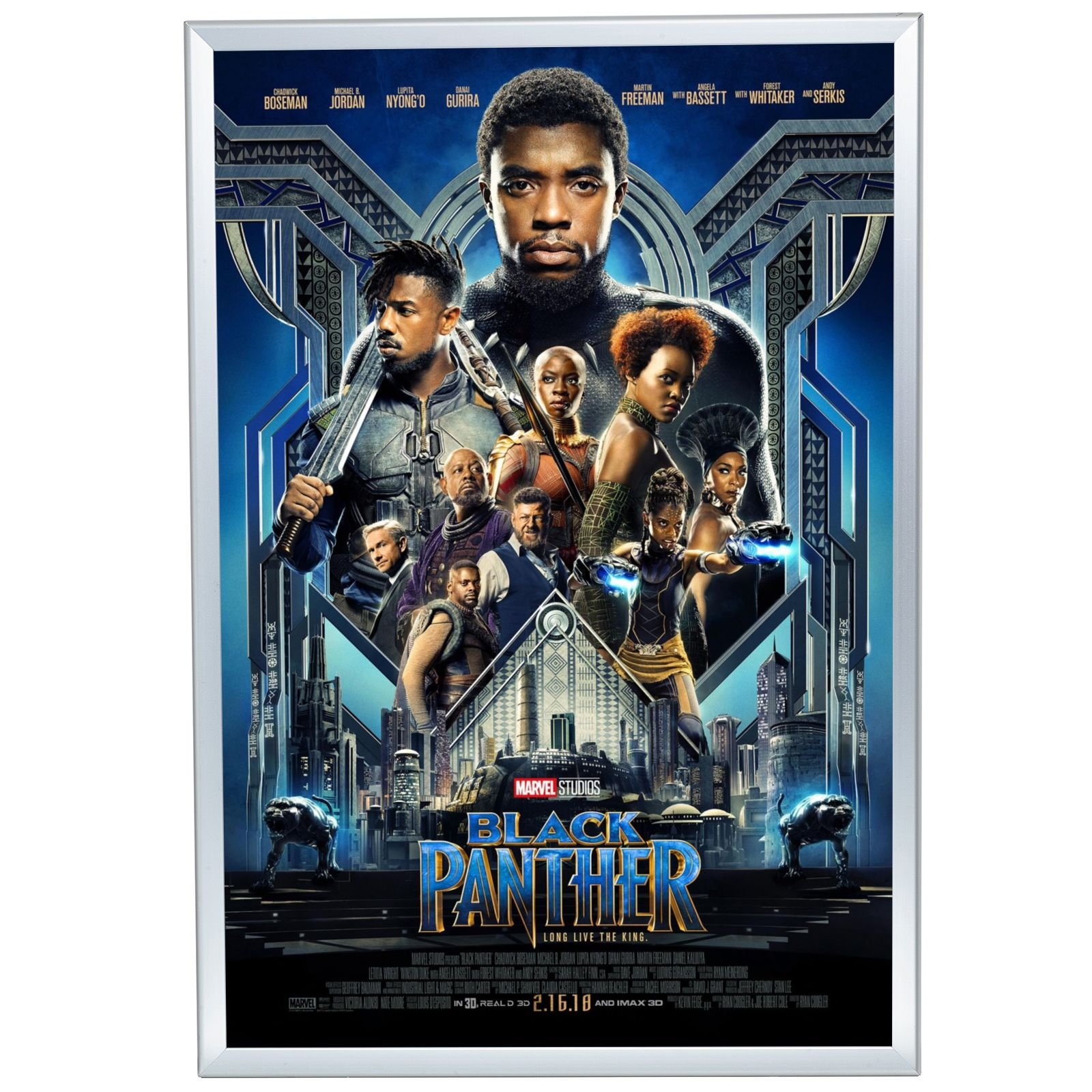 SnapeZo Movie Poster Frame 27x40 Inches, Silver 1.25'' Aluminum Profile, Front-Loading Snap Frame, Wall Mounting, Professional Series for One Sheet Movie Posters