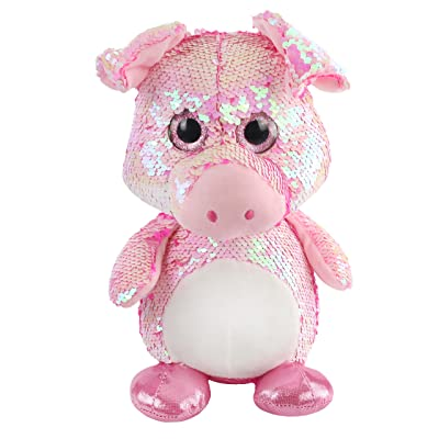 Athoinsu Flip Sequin Pink Pig Stuffed Farm Animals Soft Plush Toy with Sparkle Reversible Sequins Glitter Birthday for Toddler Kids, 12'': Toys & Games