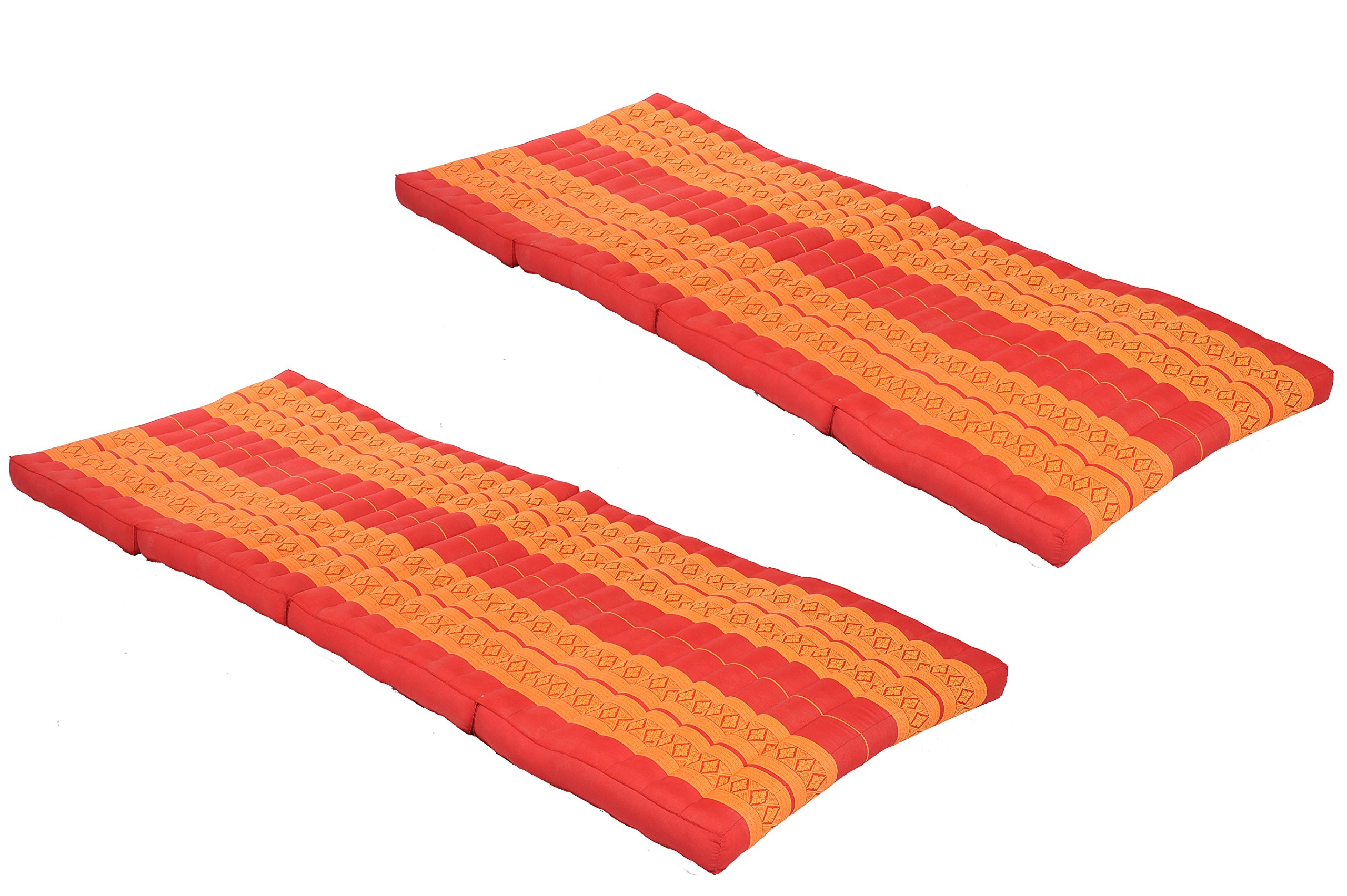Pack: 2x 4-Fold Mattress (79x32inches), Traditional Thai Design red-orange, (100% Kapok filling) by Handelsturm