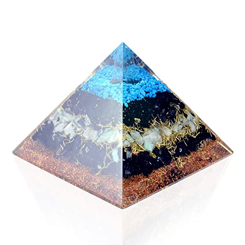 Orgone Pyramid Energy Generator Turquoise Black Tourmaline Pyramid