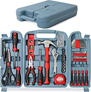 Hi-Spec 54 Piece Home & Office Tool Kit Set. General DIY Repair & Maintenance Hand Tools with Hammer, Pliers, Screwdriver & Hex Key Sets. Complete in a Storage Box Carry Case