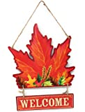 """Glittery Fall Harvest Hanging Wooden Welcome Sign, 13"""" (Leaf)"""