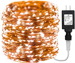 165ft Led Copper String Lights, 500 Led Starry Lights Long String + 15V DC Power Adapter Christmas Lights with UL Listed for Party Wedding Bedroom Christmas Tree Decor (165FT, White)